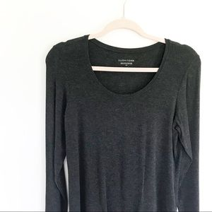 Eileen Fisher Basic Gray Long Sleeve Crew Neck Top
